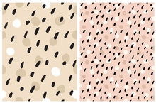 Simple Dotted Vector Seamless Pattern. Gold And White Dots With Black Spots On A Light Beige Background. Tiny Polka Dots And Black Lines On A Salmon Pink Backdrop.. Geometric Irregular Vector Print.