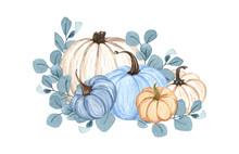 Watercolor Pumpkin Composition, Floral Pumpkins, Halloween Clip Art, Autumn Design Elements, Fall Arrangement Of Blue And White Pumpkins. Harvest Illustration Isolated On White Background