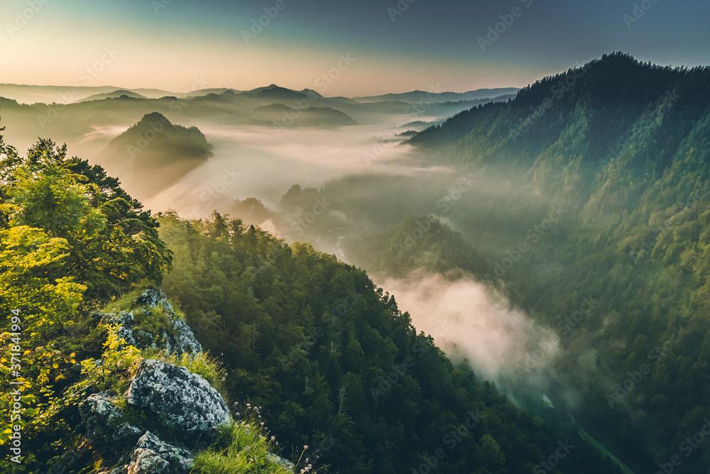 Fototapeta Wschód Słońca w Pieninach, na Sokolicy