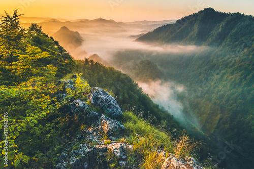 Fototapeta Wschód Słońca w Pieninach, na Sokolicy obraz