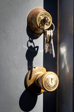 Dead Bolt Lock With Keys On Ring Hanging Above Door Knob
