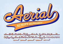 Aerial Script Alphabet; A Calligraphy Or Script Font With Graphic Incised Lines And A Set Of Five Swash Embellishments. This Cursive Lettering Is Ideal For Vintage Collegiate Or Retro Logo Branding.