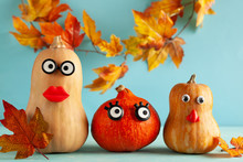 Funny Pumpkins With Faces On P...