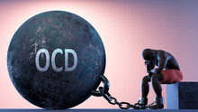 Ocd As A Heavy Weight In Life - Symbolized By A Person In Chains Attached To A Prisoner Ball To Show That Ocd Can Be A Sorrow, Brings Suffering And It Is A Psychological Burden, 3d Illustration