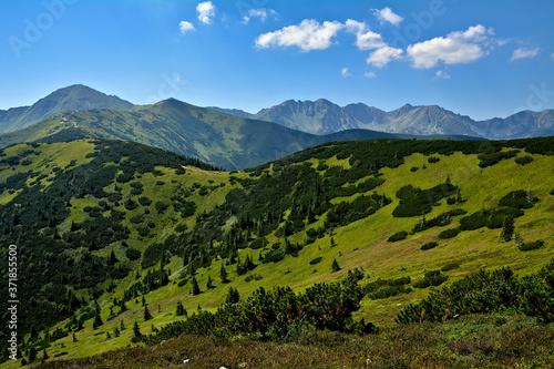 góry Tatry, widok z Grzesia na Rakoń i Wołowiec