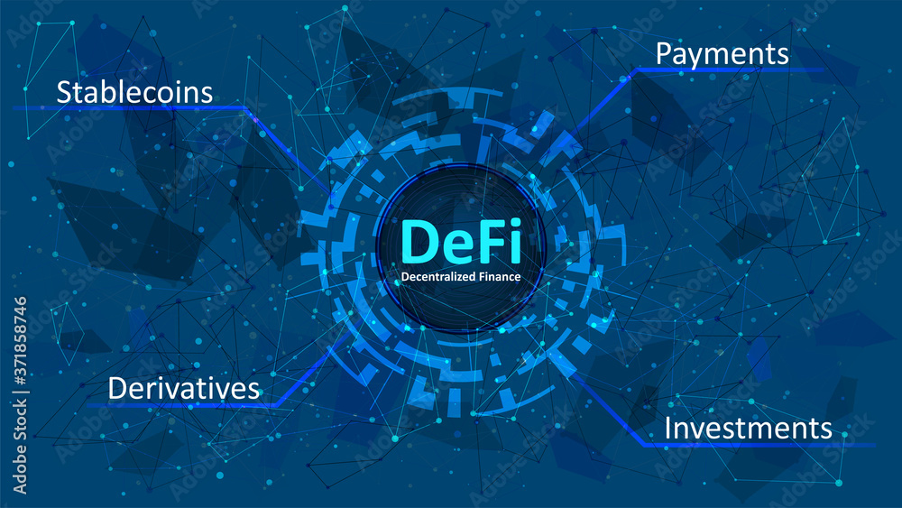 Fototapeta Defi - decentralized finance in a digital circle on dark blue abstract polygonal background. An ecosystem of financial applications and services based on public blockchains. Vector EPS 10.