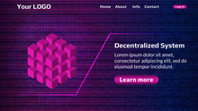 Decentralized Service Website Start Page Template With Digital Background. Isometric Cube As A Symbol Of Decentralization. Website Header Layout. EPS10 Vector.