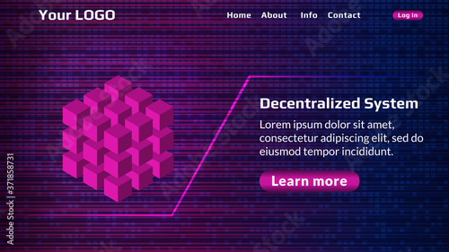 Fototapeta Decentralized service website start page template with digital background. Isometric cube as a symbol of decentralization. Website header layout. EPS10 vector. obraz