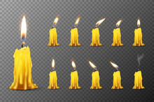 Vector 3d Realistic Orange Paraffin Or Wax Burning Candles With Different Flame Icon Set Closeup Isolated On Transparent Background. Design Template, Clipart