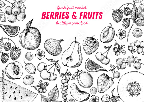Foto Berries and fruits sketch collection