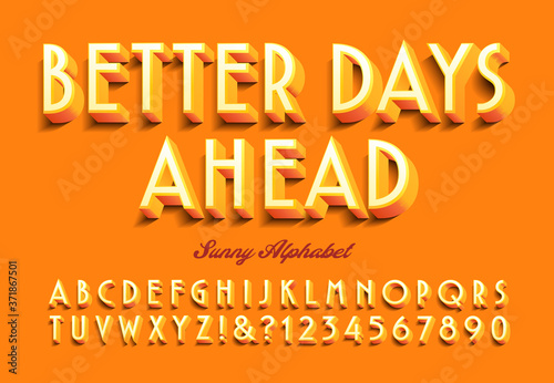 A Bright Orange and Sunny Graphic Alphabet: Better Days Ahead Wallpaper Mural