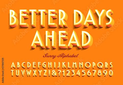 A Bright Orange and Sunny Graphic Alphabet: Better Days Ahead Tapéta, Fotótapéta