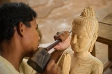 Wood Carver;  Siem Reap;  Cambodia