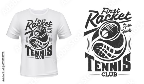 Valokuvatapetti Tennis club vector t-shirt mockup with print of racket and ball on white apparel template