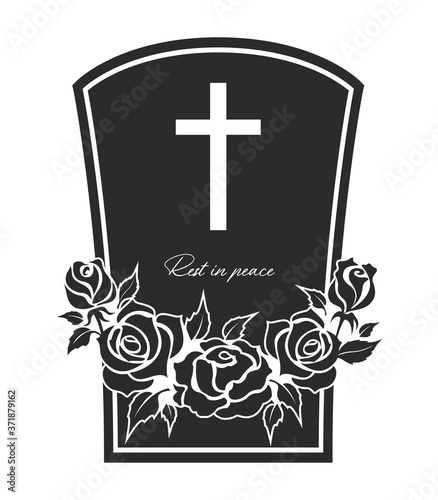 Fotografie, Obraz Funeral card, vector gravestone with rose flowers wreath, cross and rest in peace obsequial typography