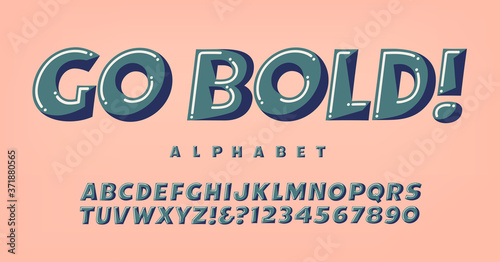 Canvas Print Go Bold Alphabet; A Fun and Whimsical Font in Three-Toned Harmonized Colors