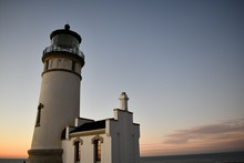 Oregon Lighthouse At Dusk.