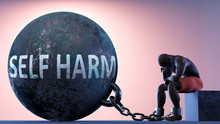 Self Harm As A Heavy Weight In Life - Symbolized By A Person In Chains Attached To A Prisoner Ball To Show That Self Harm Can Cause Suffering, 3d Illustration