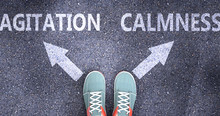 Agitation And Calmness As Different Choices In Life - Pictured As Words Agitation, Calmness On A Road To Symbolize Making Decision And Picking Either One As An Option, 3d Illustration