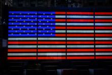 American Flag Made Out Of LED Lights In Times Square