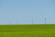 Wind Turbines Along The Highways Of Eastern Alberta Canada
