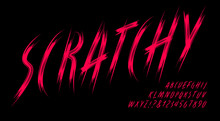 Scratchy Alphabet; A Dark And Ominous Font In The Style Of Long Scratches Made By Creature Claws. Good For Horror, Supernatural Sci-Fi, Game Logos, Werewolves, And Cat Scratch Themes.