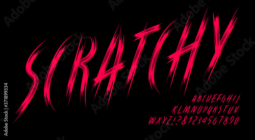 Fototapeta Scratchy Alphabet; A Dark and Ominous Font in the Style of Long Scratches Made by Creature Claws