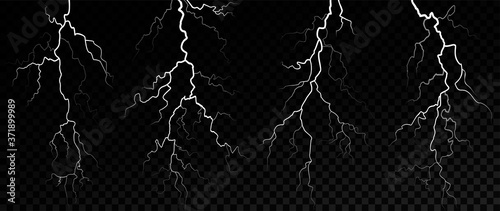 Fotografering Set of white lightnings on a transparent background