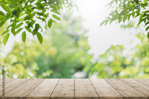 Empty wood table top and blurred green tree in the park garden background - can used for display or montage your products.