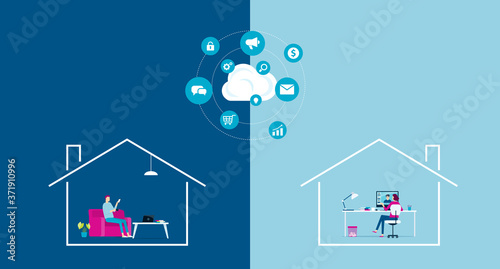 Fototapeta flat vector work from home workplace concept and business smart working online connect with cloud computing server concept obraz