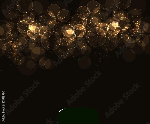 Obraz na plátně gold bubble abstract fantasy galaxy sparkle and dynamic swirl bubbly fractal on gold