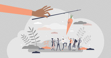 Carrot And Stick Metaphor As Treat Teasing Visualization Tiny Person Concept