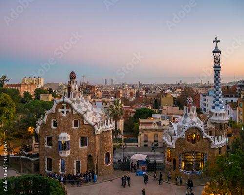 Fototapeta panorama of barcelona spain