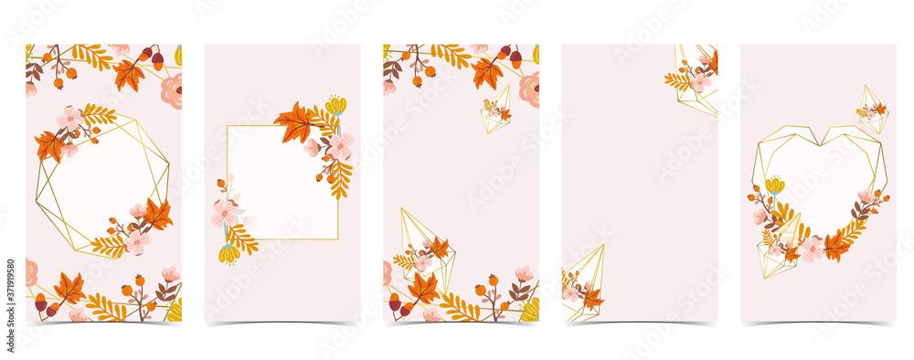 Fototapeta Autumn background for social media.Set of instagram story with maple,leaf,gold