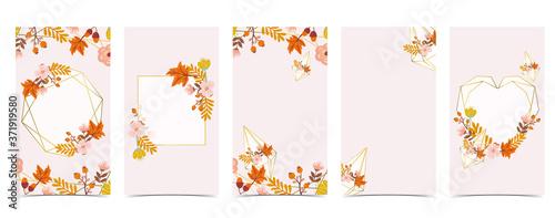 Obraz Autumn background for social media.Set of instagram story with maple,leaf,gold - fototapety do salonu