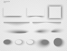 Vector Shadows Isolated. Set Of Shadow Effects. Transparent Paper And Objects Box Square Shadows. Wall And Floor Drop Shadow Vector Collection