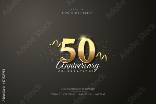 Fotografija Editable text style effect 50th gold number birthday celebration