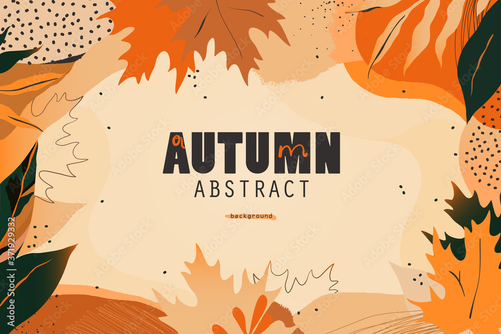 Fototapeta Autumn seasonal artistic abstract background template. Modern hand drawn vector illustration. - obraz na płótnie