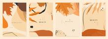 Autumn Seasonal Artistic Abstract Background Templates. Modern Hand Drawn Vector Illustration.