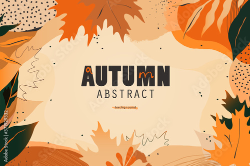 Fototapeta Autumn seasonal artistic abstract background template. Modern hand drawn vector illustration. obraz na płótnie