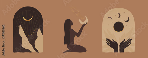 Photo Modern minimalist mystical astrology aesthetic illustration