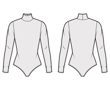 Cotton-jersey Turtleneck Bodysuit Technical Fashion Illustration With Fitted Knit Body, Long Sleeves. Flat Outwear Shirt Apparel Template Front, Back, Grey Color. Women Men Unisex Top CAD Mockup