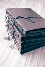 Vintage Brown Leather Photo Scrapbook Albums.  With Colour Toning