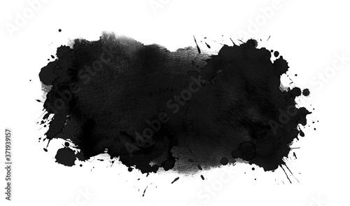 Photo Black ink background with free brush strokes, drops, splash