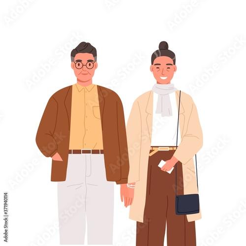 Happy elderly couple holding hands vector flat illustration Fototapete