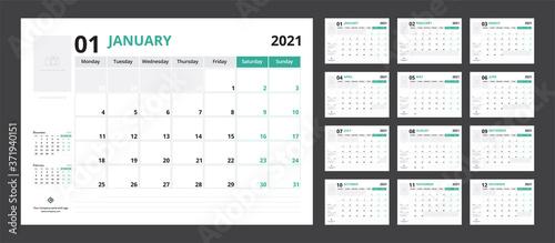 Obraz 2021 calendar planner set for template corporate design week start on Monday. - fototapety do salonu