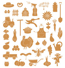 Harvesting Symbols Silhouettes. A Set Of Elements On The Theme Of Farming, Autumn, Harvest And Thanksgiving. Vector Stencils. Template For Design.
