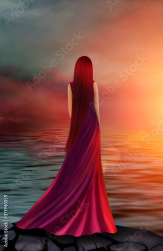 Plakaty do sypialni  beautiful-girl-in-a-long-red-dress-in-the-rays-of-the-sunset