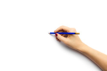 Hand Holds Blue Pencil In Blan...