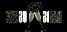 2021-Bannière Avec Des étoiles Formant Un Cœur Sortant De 2 Coupes De Champagne Pour Les Amoureux - Fond Noir - Texte Français Et Anglais, Traduction : Bonne Nouvelle Année.